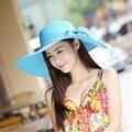 2016 Mujeres de Las Mujeres del sombrero del verano de las mujeres sombrero de ala ancha playa grande floppy sol sombrero chapeau nueva marca sexy