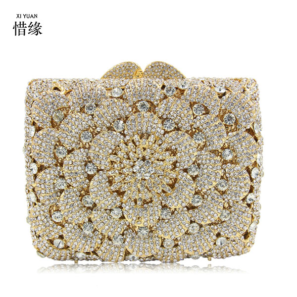 XIYUAN BRAND Designer Golden Crystal Evening Bag Mini Women Party Handbags Luxury Women Diamond Wedding Bridal Sparkle Prom bag xiyuan brand luxury evening bag gold silver diamond party prom purse women wedding bridal chain handbags mini cshoulder bag
