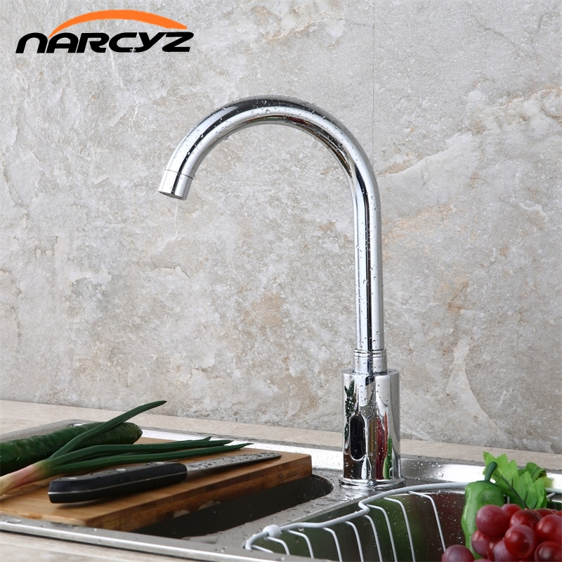 Kitchen Faucets Bathroom Automatic Hands Touch Free Sensor Chrome Brass Sink Tap Deck Mounted Auto Sensor Mixer GY 3