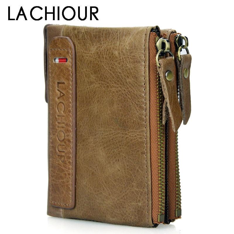 Brand Man's Wallet Genuine Leather Trifold Men Wallets Zipper Coin Purse Short Design Multifunction Money Bag With Card Holder