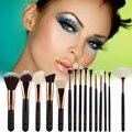 15 Unids/set Profesional Oro Rosa Ojo Pinceles de Maquillaje Colorete En Polvo Fundación Lip Sombra de Ojos Cepillo Herramienta de Kit de baño