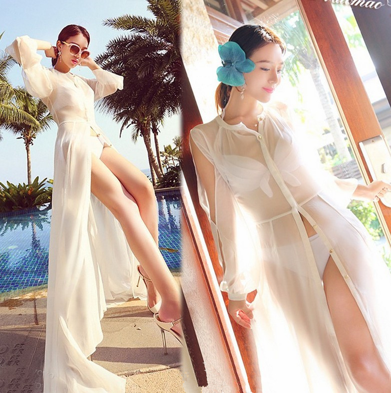 Long beach holiday chiffon cultivate one's morality show thin with joker bikini smock new winter 2015 women cotton padded clothes draw string of cultivate one s morality show thin fashionable