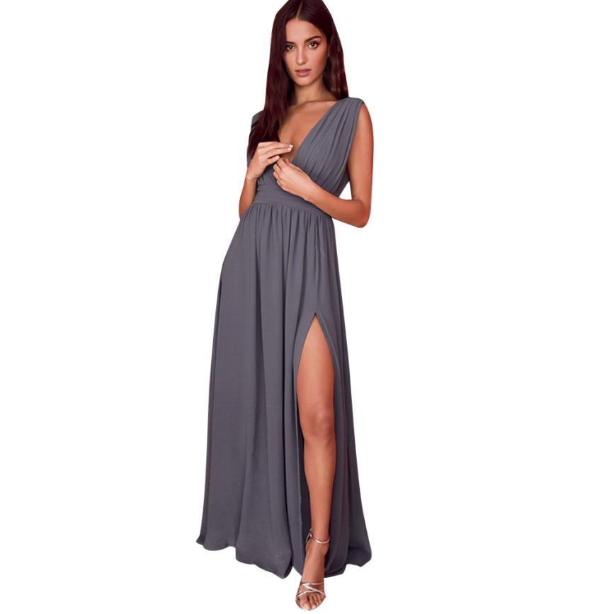 Women Chiffon Sexy Dress Elegant Evening Party Lady Vestidos Hot Selling Fashion Solid V-Neck Beach Dresses Hot Selling 40P