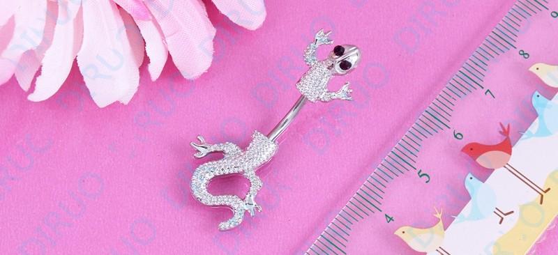 HTB1M5ORIpXXXXb7XpXXq6xXFXXXn Crystal Jeweled Lizard Style Silver-Tone Navel Ring - 6 Styles