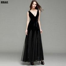 3b2ab190de5 2018 Europe Women Fashion Sexy Deep V-neck Sleeveless Velvet Banquets Mesh Black  Nobility Elegance Dinner Party Lady Long Dress