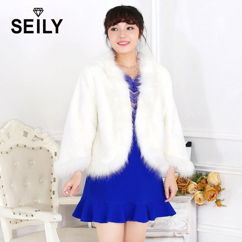 Begeistert Seily Winter Luxury Weiß Faux Polarfuchs Fur Fluffy Jacke Mit Gefälschte Kaninchen Kragen Zier Pelzigen Cape-mantel Frauen Party Braut Mantel