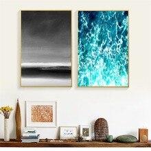 цены на Sea Wave Nordic Landscape Posters and Prints Wall art Decorative Picture Canvas Painting For Living Room Home Decor Unframed  в интернет-магазинах