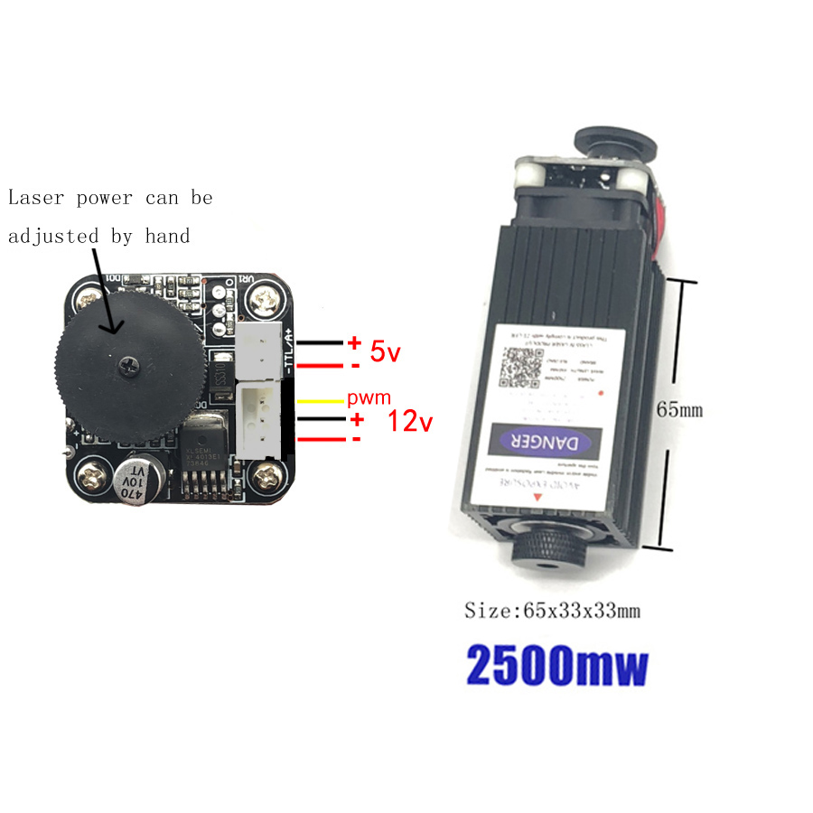 Free Shipping 450nm 2500mW 12V High Power TTL Adjustable Focus Blue Laser Module DIY Laser engraver accessories 2.5W laser head-in Woodworking Machinery Parts from Tools    2