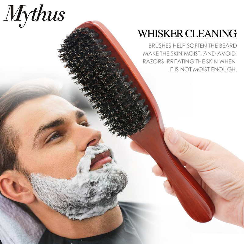 Mythus 100% Pure Boar Bristle Wood Beard Brush With Handle Men's Shaving Mustache Comb Hairdressing Teasing Brushes