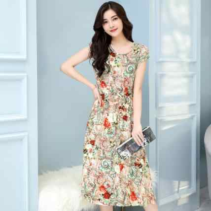 Новинка 2019 женское летнее платье среднего возраста плюс Размер 6XL свободное элегантное платье с коротким рукавом для мамы Хлопковое платье с цветочным принтом DC957