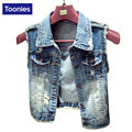 Women Denim Vest Fashion Vintage Summer Style Lady Denim Jeans Vests Pocket Decoration Single Breasted Women Outwear Top Coats