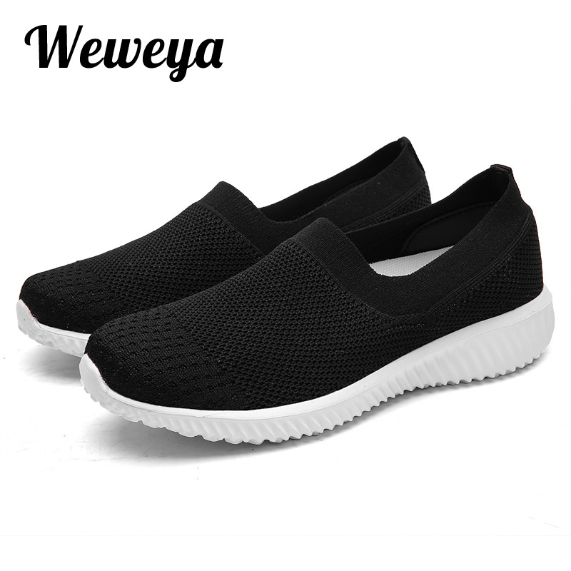 Weweya Big Size 41 Stretch Fabric Women Loafers Shoes Slip On Shallow Flats Shoes Woman Breathable Moccasin Sock Shoes Female