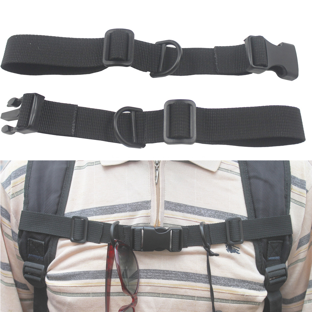 Buckled Chest Strap Backpack Accessories Harness Webbing Outdoor With Whistle Adjustable Anti Slip Sternum Nylon