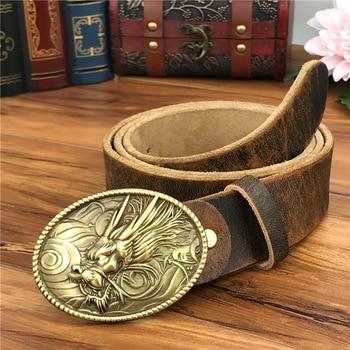 Brass Dragon Belt Buckles For Men Leather Belt Ceinture Homme Yellow Belt Cowboy Male Strap Wide Jeans Belts For Men MBT0530