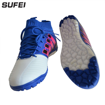 Sufei Men Soccer Shoes TF Football Boots Turf Kids High Top Indoor Futsal Cleats Athletic Trainers Sports Shoes salmon