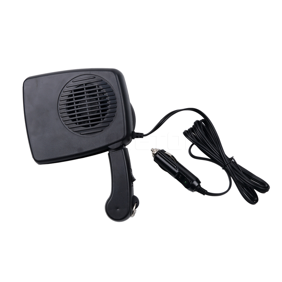 Kebidumei 2 in 1 150W Car Auto Heater Heating Fan with Swing-out Handle Enthusiasts Defroster Demister Portable Heating Fan