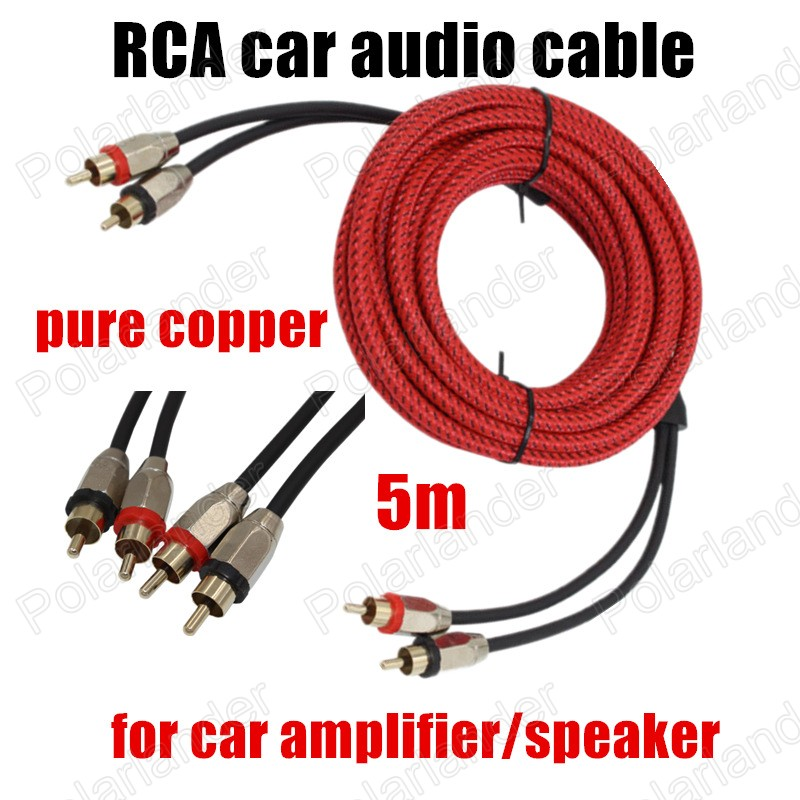 1 pc red Professional pure copper 5 meters audio cable stereo cable ...