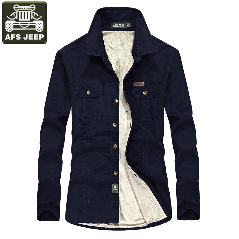 AFS JEEP Brand clothing Shirt Men Camisa Masculina Fleece Warm Long Sleeve Shirts Casual Shirts Camisas Plus Size 6xl Homme-in Casual Shirts from Men's Clothing    1