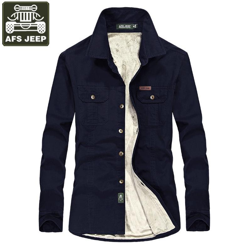 AFS JEEP Merk kleding Shirt Mannen Camisa Masculina Fleece Warme Lange Mouwen Casual Shirts Camisas Plus Size 6xl Homme-in Casual tshirts van Mannenkleding op AliExpress - 11.11_Dubbel 11Vrijgezellendag 1