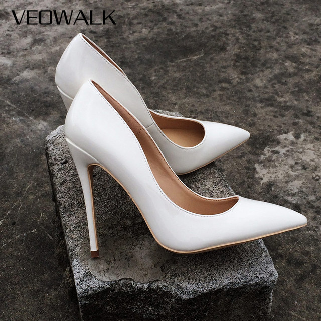 Veowalk Women Super High Heels Sexy Thin Heels Pumps White Patent Leather Pointed  Toe Party Wdding Stilettos Shoes For Woman