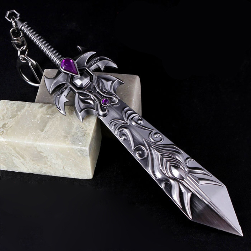 16CM Collectible LOL Dreadknight Garen zinc alloy weapon simulation Sword Pendant Metal Model Keychain Keyring Fans Gift