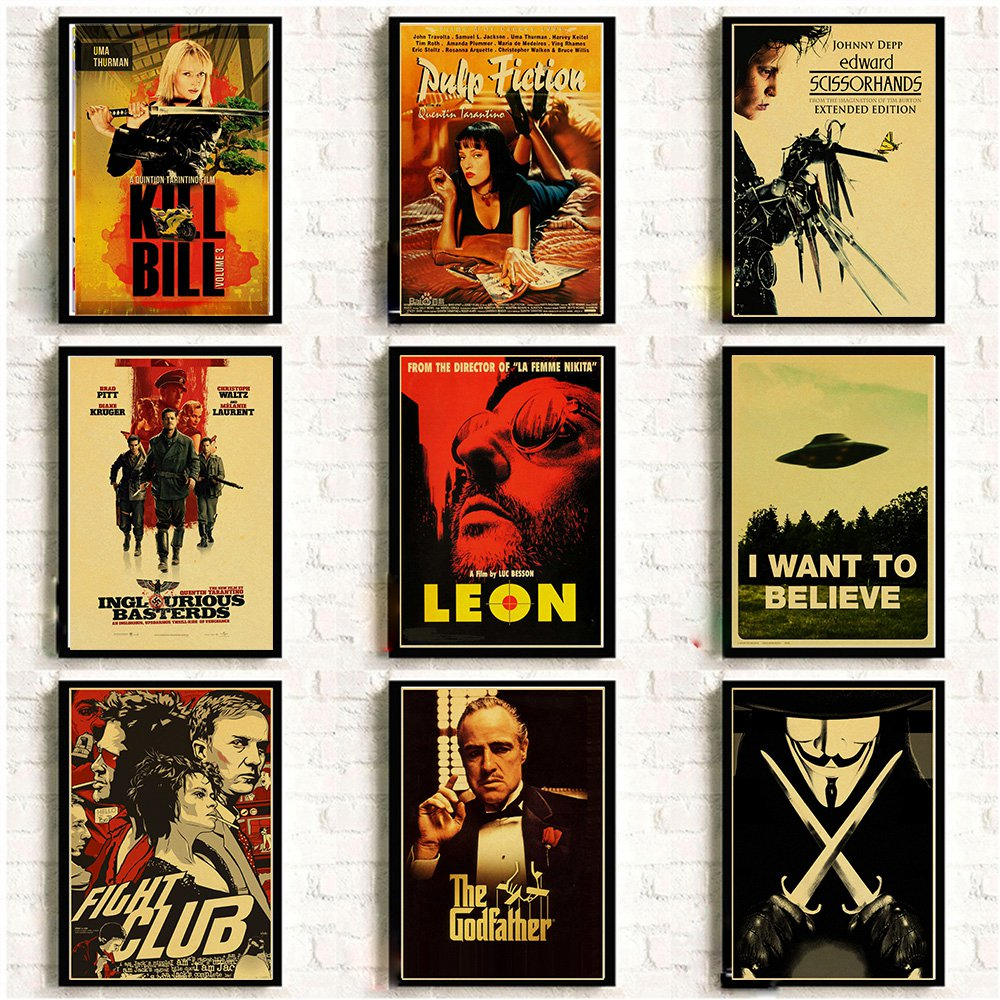 Classic Nostalgic Movie Poster Leon/Fight Club/Pulp Fiction/Shining/Kill Bill/Godfather Posters And Prints Retro Wall Sticker