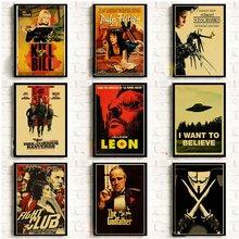 Póster clásico y nostálgico de película Leon/Fight Club/Pulp Fiction/Shining/Kill Bill/pósteres de El Padrino e impresiones pegatina Retro para pared