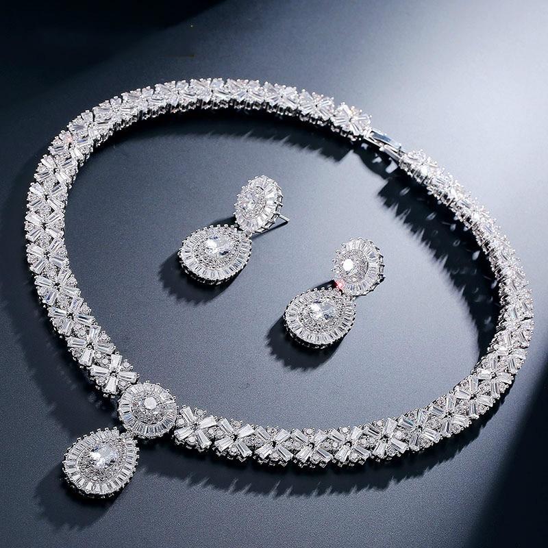 Zircons Exclusive Dubai Gold Color Jewellery Luxury Cubic Zirconia Necklace Earring Bracelet Party Jewelry Set For Women