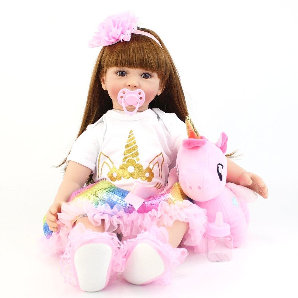 60cm Big Size Silicone Vinyl Reborn Doll Toy Lifelike Princess Toddler Babies With Unicorn Theme Alive Bebe Girl Birthday Gift
