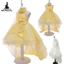 Free Shipping Hot Sales Girl Princess Dress 2019 New Design Yellow Dresses For Girls  10 12 Years Child Party Kids Evening Gowns