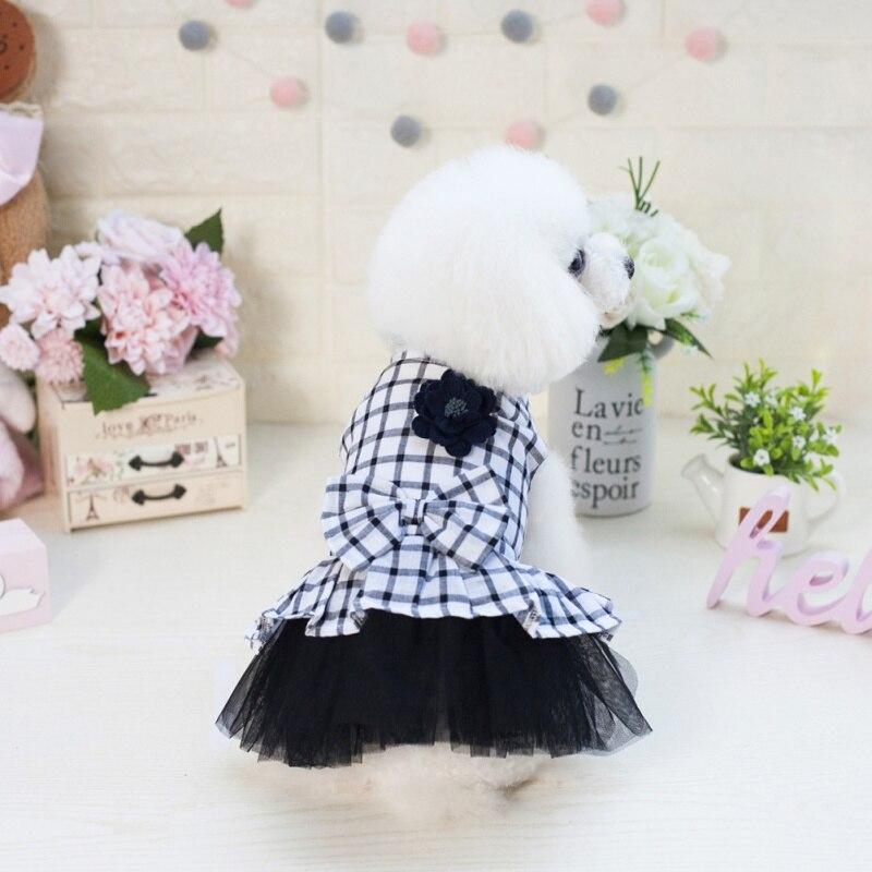 Small Dog Dress Pet Dog Bubble Grid Dress Dog Cat Cute Summer Skirt 2018 Dog Tricolor Plaid Skirt Dress Last Style Dog Skirts