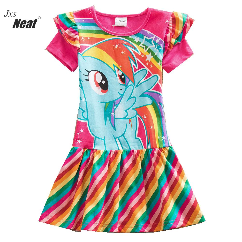 Summer girl Dress Fashionable baby clothes Casual Cotton dress Printing rainbow 3-8 years old Kids Children's clothing SH6010 2017 autumn girl long sleeves dress fashion baby casual kids cotton dress print rainbow 3 8 year old children s clothing lh6010