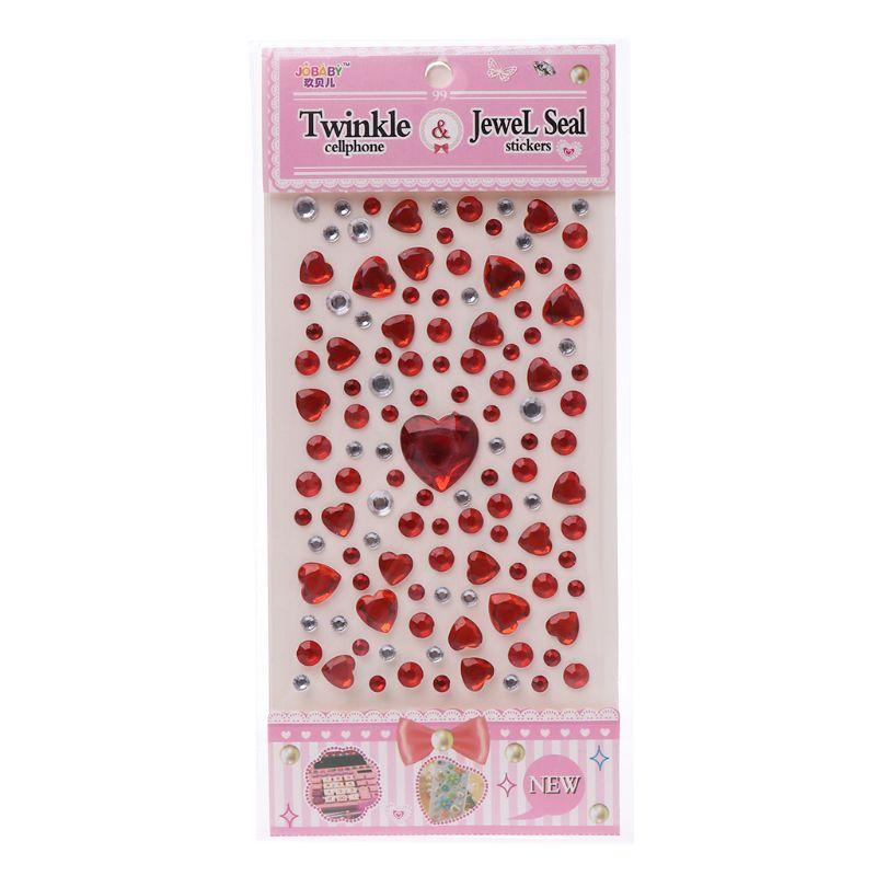 HBB 1 шт. сердце Форма стикер в виде бриллианта, кристалла DIY Наклейка Мобильный Art самоклеющиеся Скрапбукинг Стикеры «s», детская игрушка - Цвет: B
