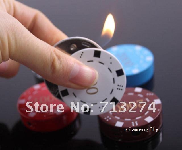 Novelty Lighters Butane Gas Cigarette Cigar Lighter refillable chip design Smoking gift Gadgets for Men