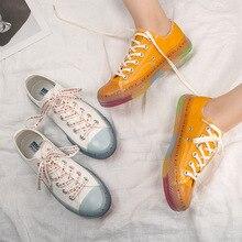 Transparent Rainbow Bottom Canvas Shoes Women 2019 New Stude