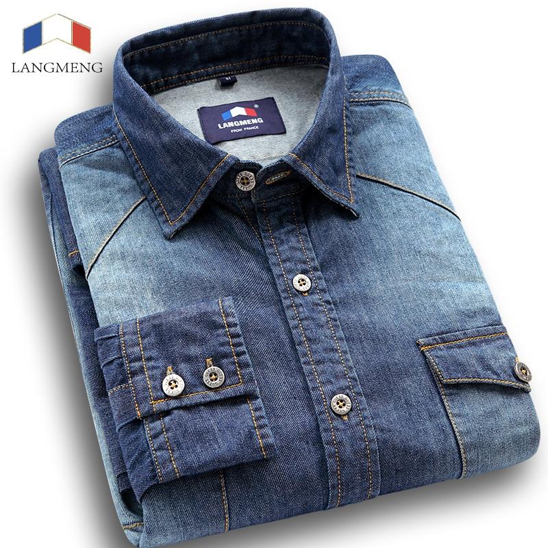 Langmeng 2016 Quality 100% Cotton Solid Color Long Sleeve Casual Shirt Slim Fit Denim Shirts Men Jeans Shirts Brand Dress Shirt