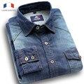 Langmeng 2016 qualidade 100% algodão cor sólida manga longa ocasional camisa slim fit denim jeans camisas homens camisas de vestido da marca camisa