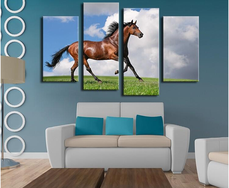 4 Panels Horse Art Large Picture Frames Wall Painting