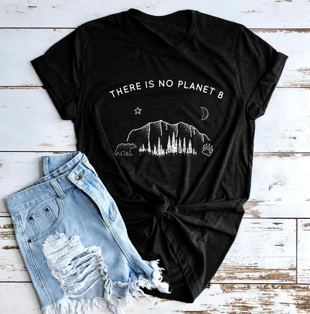 Star moon Planet Graphic Top There is no Planet B T-Shirt Funny Planet Slogan Christian Stylish Tee Feminist Vintage shirts 1