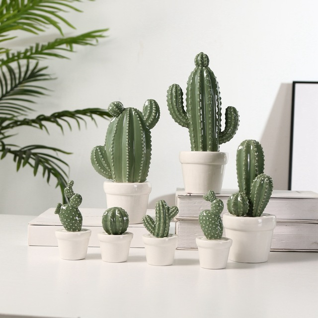 Ceramic Simulation Cactus Landscape  INS Scandinavian Home Decoration Plant ornaments Garden decoration lifelike