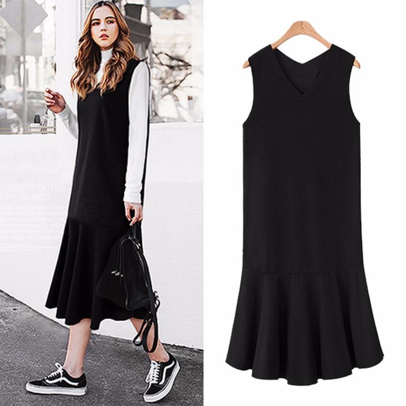 2018 Printemps Automne Plus La Taille V-cou robe Chasuble De Mode Facile Correspondant Femmes Minces Ruches Robe Sirène robe longue robe