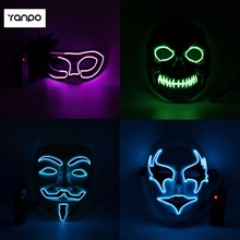 2Pcs/Lot 6 Combination El Wire Light Up LED Mask + Controller Neon Rave Horrific Cosplay Party Halloween Costume