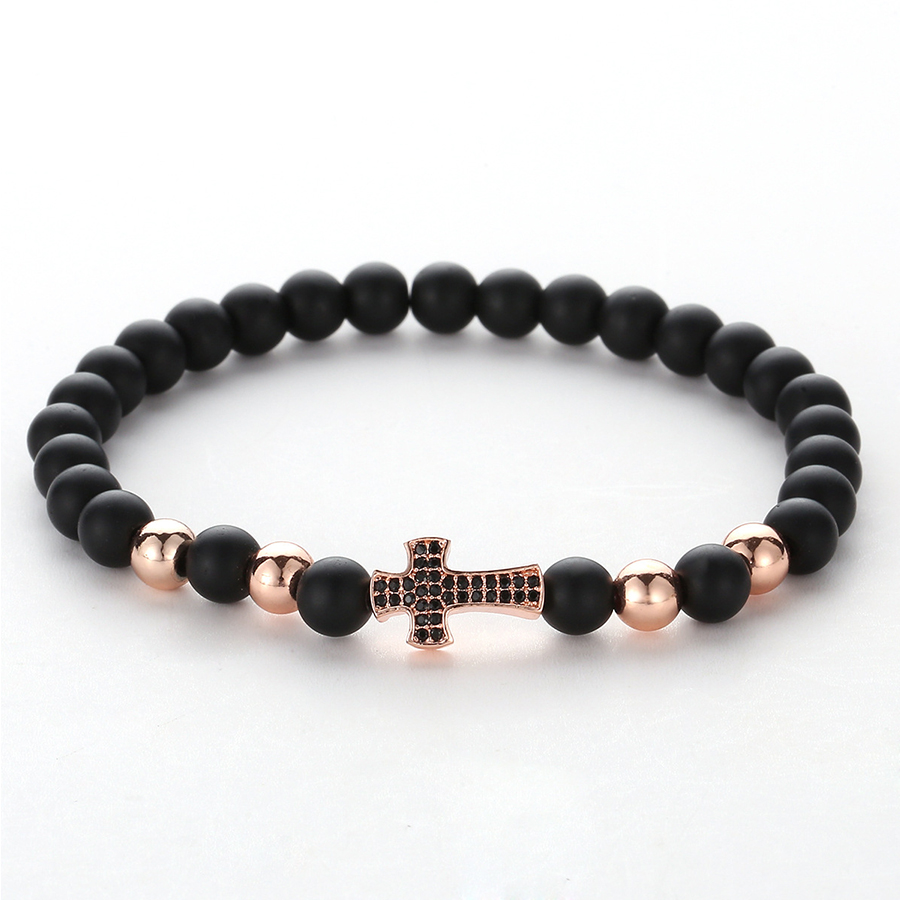 HOBBORN Trendy Black Onyx Beads Men Bracelet Handmade Natural Stone Healing Reiki Prayer Balance Women Mens Cross Bracelets Cruz in Charm Bracelets from Jewelry Accessories