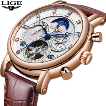 LIGE 2019 New Men Mechanical Tourbillon Luxury Fashion Brand Leather M
