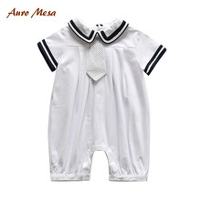 Fashion Summer Baby Jumpsuit 100%Cotton White One-piece With Tie Newborn Boy Clothing