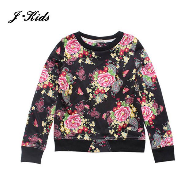 6 color 90 - 130 cm niñas sudadera abrigo 2015 autumn moda imprimir camisa de manga larga tops para niñas niños outwear