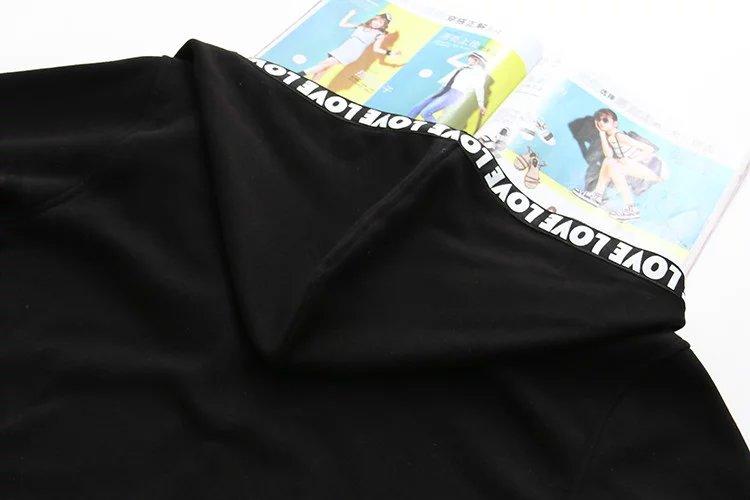 f24ab4154 XL a XXXL velo hoodies Carta de impressão preto mulheres camisola longa  plus size Elástico de algodão completo manga 2017 senhoras Zip up em Hoodies  ...