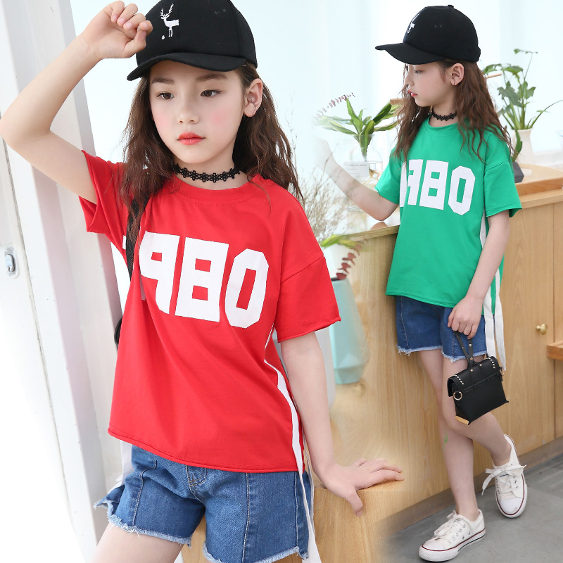 Brand 2018 New Baby Kids Girls Tshirt Child Clothing Childrens Tops Summer Clothes Short Sleeve Tee Shirts Summer Top 10 12 Year