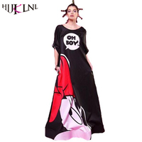 2017 Woman Spring Summer Maxi Dress Elegant Mickey Printed Long Sleeve Backless Party Club Long Dress