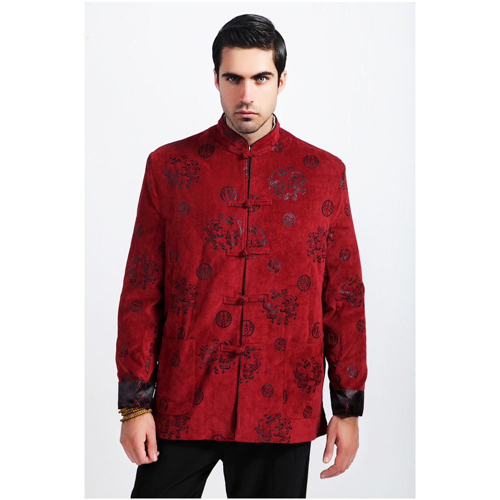 Top Selling Autumn Winter Padded Jacket Burgundy Chinese Men Long Sleeve Coats Thicking Outerwear Size S